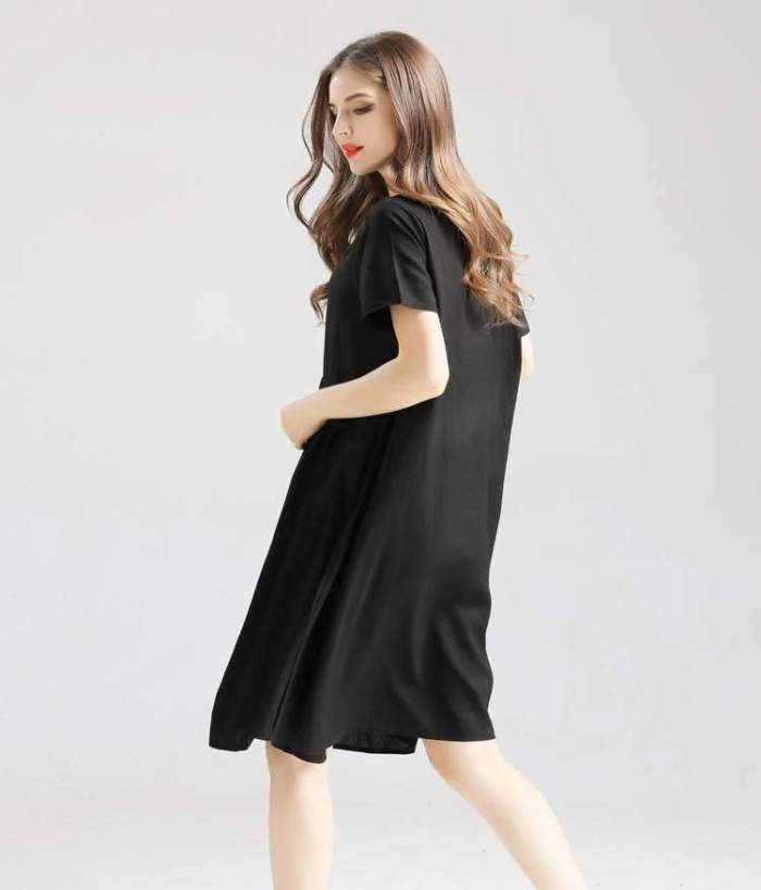 Casual Stripe Short sleeve Round neck Loose Shift Dresses