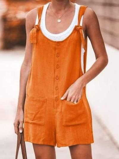 Casual Pure Vest Pocket Jumpsuits