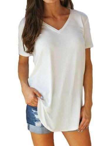 Fashion V neck Short sleeve Long T-Shirts