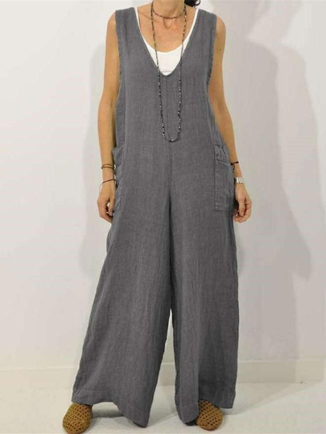 Loose Casual Pure V neck Jumpsuits
