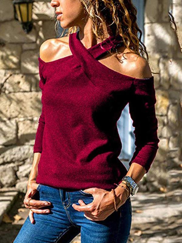 Casual Halter Off-Shoulder Long Sleeve T-Shirts