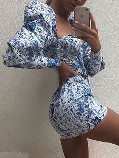 Sexy women printed special collar bodycon dresses