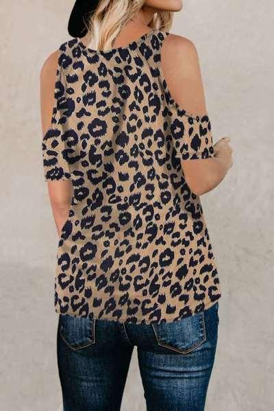 Fashion Leopard print Rouns neck Off shoulder T-Shirts