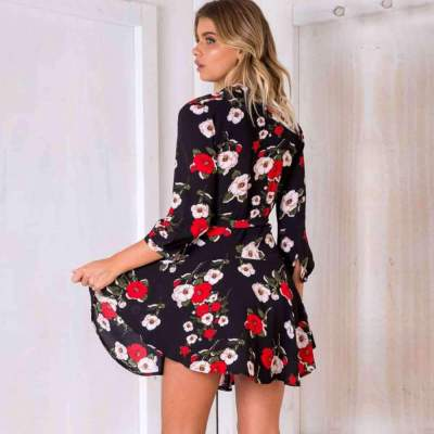 Fashion Print Three quarter sleeve V neck Skater Dresses
