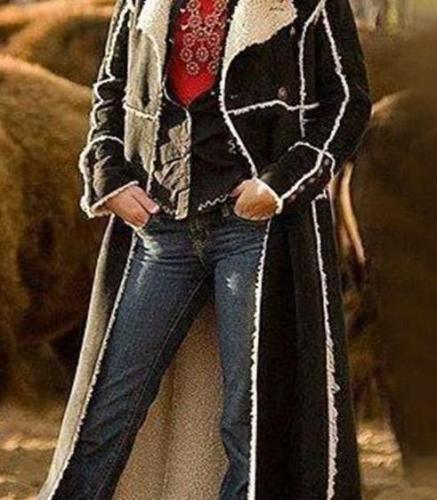 Fashion Casual Lapel Long sleeve Gored Plush Trench Coats