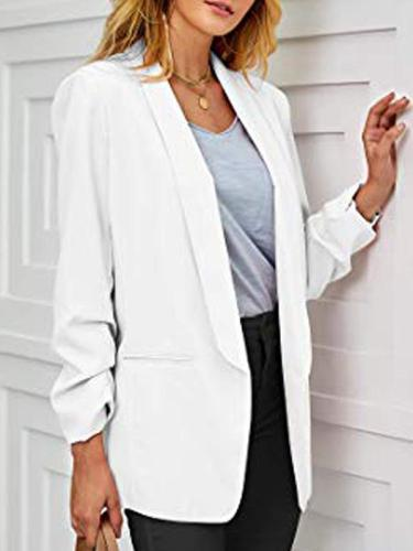 Slim long sleeve solid color turn down collar blazers