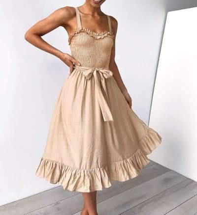 Fashion Sling Ruffled Lace-Up Women  Skater Dress