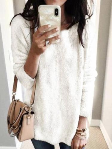 Warm plsin round neck long sleeve soft sweaters tops