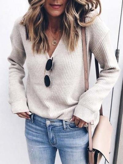 Women v neck plain daily long sleeve sweaters
