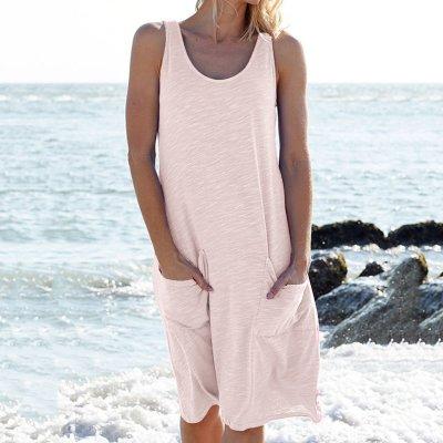 Casual Pure Round neck Vest Pocket Shift Dresses