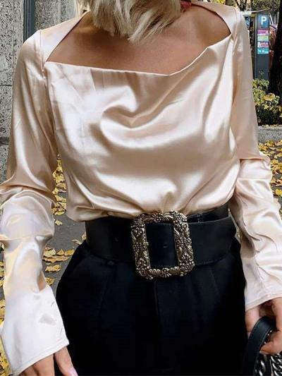 Pure One shoulder Long sleeve Blouse