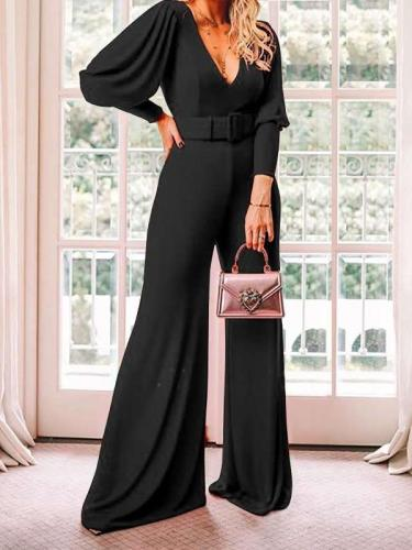 Fashion Casual Pure V neck Belt Jumpsuits