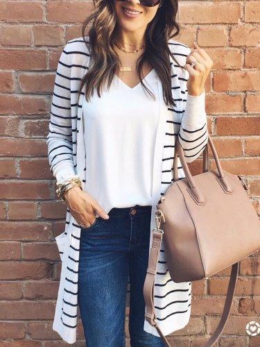 Stripe Long sleeve  Cardigan Coats