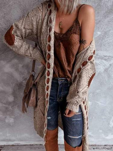 Women stylish knit Long-sleeved cardigan sweaters