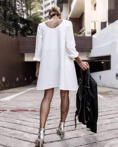 Fashion Loose  Fastener Round neck  Long sleeve Shift Dresses