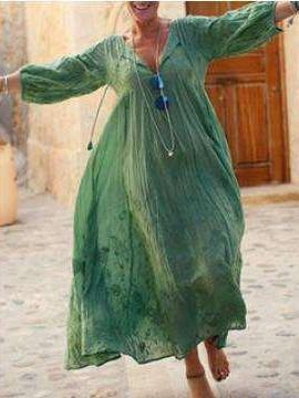 Casual Loose V neck Print Long sleeve Maxi Dresses