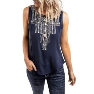 Fashion Casual Print Sleeveless Round neck T-Shirts