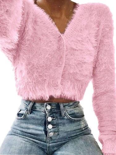 Fashion Pure V neck Long sleeve Plush Cardigan Sweaters