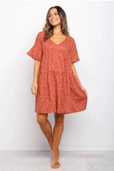 Casual Print V neck Short sleeve Shift Dresses