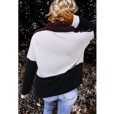 Fashion Gored High collar Long sleeve Sweaters