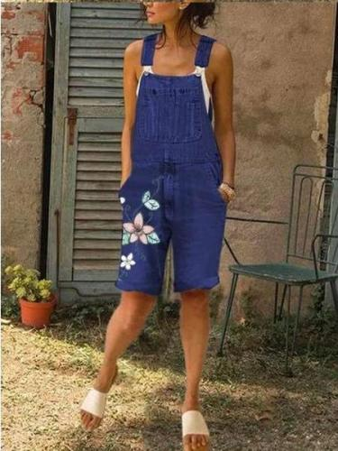 Fashion  Casual Embroider Jeans Jumpsuits