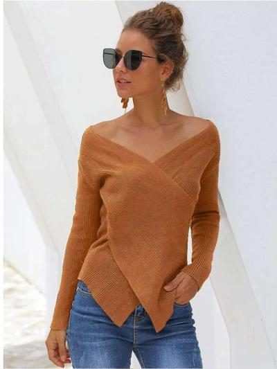 Loose V neck Long sleeve Vent Knit Sweaters