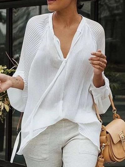 Fashion Pure V neck Lacing Long sleeve Blouses