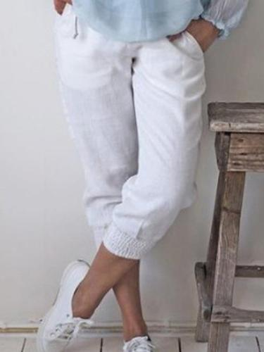 Women seven points pure color Small feet haren pants