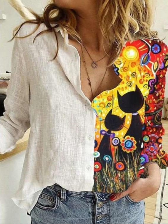 Fashion Casual Print Lapel Long sleeve Blouses