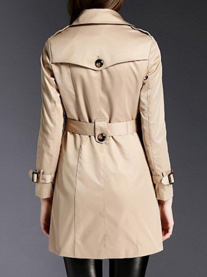 Lapel Double Breasted Pocket Belt Plain Trench Coat