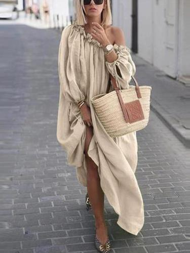 Loose Fashion Plain Women Off houlder Maxi Dresses