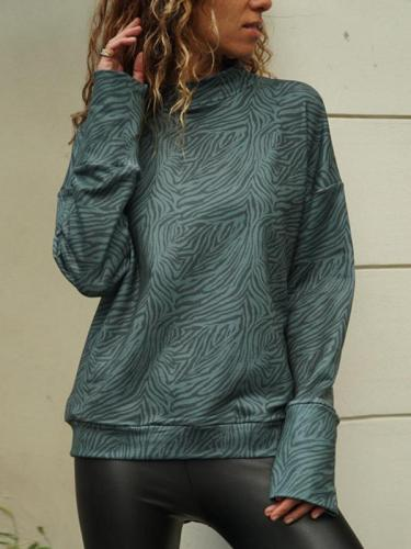 Casual high-necked zebra printed long-sleeved Sweatshirts