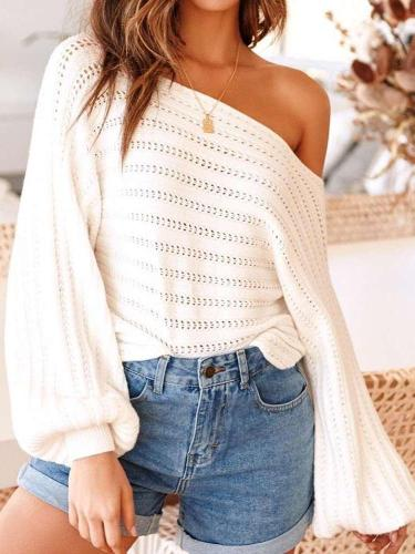 Sexy Off shoulder Puff sleeve Hollow Sweaters