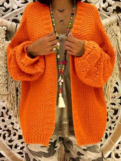 Loose knit long sleeve cardigan sweater autumn coats