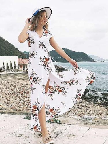Fashion Print V neck Short sleeve Lacing Maxi Dresses