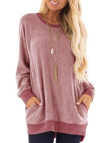 Daily Round Neck Plain Long Sleeve Woman Spring Sweatshirt