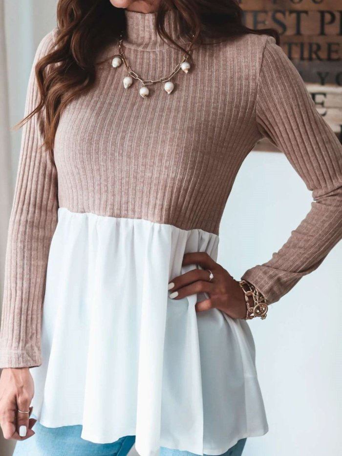 Fashion Gored High collar Long sleeve Knit Sweaters
