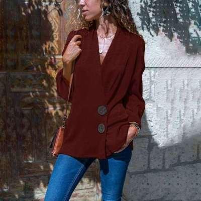Pure Casual Lapel Long sleeve Blazer