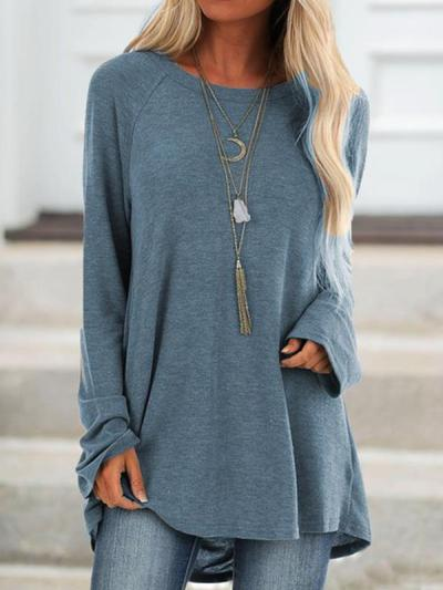 Solid colour casual round neck long sleeve pullover T-shirts