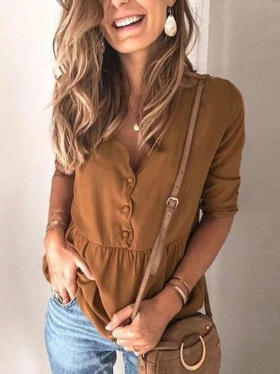 Loose Pure Gored Long sleeve V neck Blouses