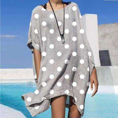 Casual Loose Point print Round neck Short sleeve Shift Dresses