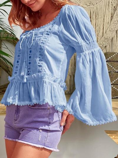 Flared sleeve rounded collar loose lace patchwork long sleeve T-shirts