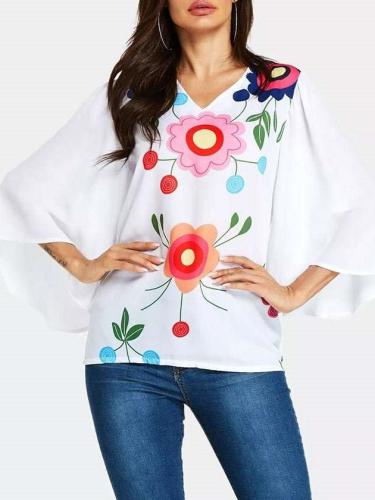 Fashion V neck Plus Casual Print T-Shirts