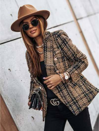 Fashion Plaid Lapel Long sleeve Coats