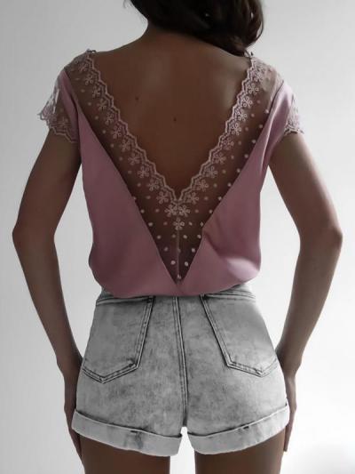 Plain cut-out lace deep V woman Short Sleeve T-shirts