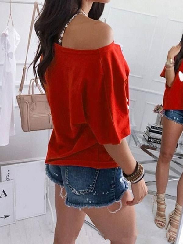 Loose off shoulder batwing printed T-shirts