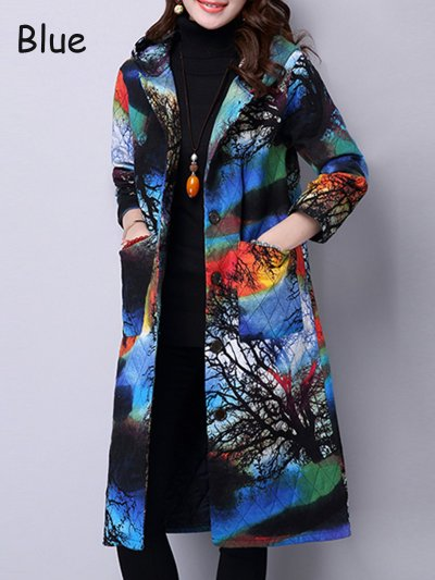Abstract Printed Quilted Thick Hoodie Winter Coat