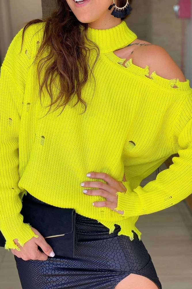 Fashion Casual Pure Hollow out Off shoulder Long sleeve Sweaters