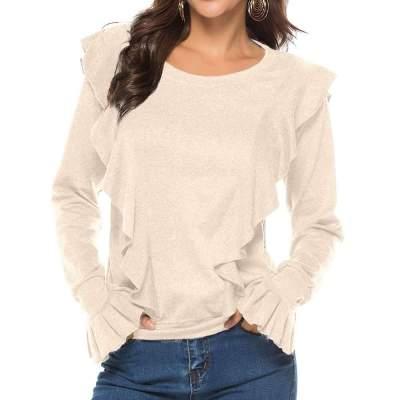 Fashion Round neck Falbala Long sleeve T-Shirts