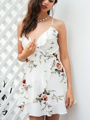 Fashion Sleeveless Print Backless Lacing Skater Dresses